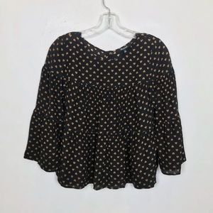 Madewell Silk Tiered Button Back Heart Blouse